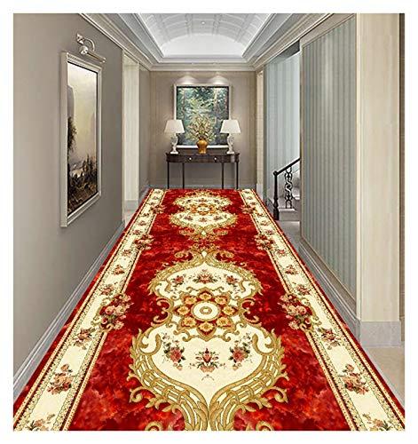 ditan XIAWU Gangteppich Im Europäischen Stil Wohnzimmer Couchtischmatte Zuhause Eingang Treppe (Color : Red, Size : 100x500cm)