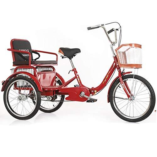 ZNND Bicicletas reclinadas Triciclo para Adultos Personas Mayores 20 Pulgadas 3 Ruedas Bicicletas De Tres con Asiento Regulable Altura Cesta Gran Tamaño para Compras Recreativas (Color : Red)