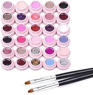 Frenshion Set of 30 colors Soak-off UV LED Semi Permanent Nail Gel Nail Polish Base Top Nail Art Manicure Kit +2 Brush