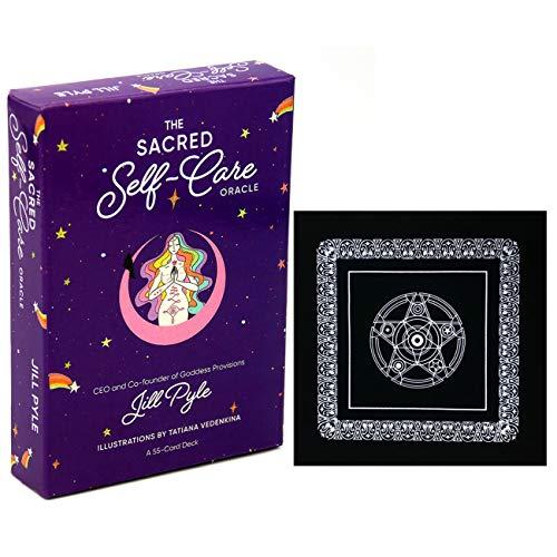 The Sacred Self-Care Oracle Cards Englisch Tarot Karten-Set 55PCS mit schwarzem Plüsch Altar Tabellen-Tuch, Pentagram Retro Tarot Tuch für Familien-Freund