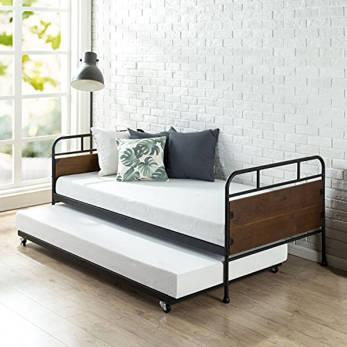 Zinus Eli Twin Daybed Trundle Frame Set / Premium Steel Slat Support / Daybed and Roll out Trundle / Accommodates Twin Size Mattresses Sold Separately