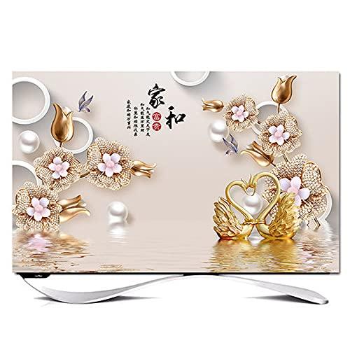 Huis 55in Indoor TV Dust Cover, Cover Type TV Screen Protector Voor Lcd Led Decoratie Televisie Set Cover Waterdichte Behuizing Scherm(Size:55in,Color:E)