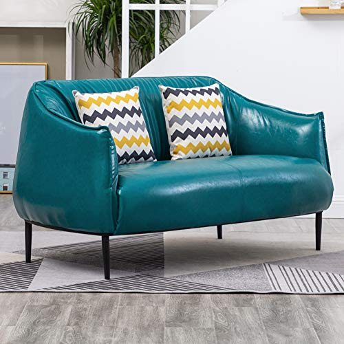 Warmiehomy PU 2 Seater Sofa Double Couch Settee Loveseat Sofa Lounger Living Room Furniture Reception Room Sofa with Solid Legs and Back Cushions(Cyan Blue)
