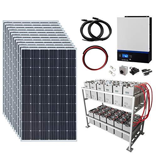 Sistema completo de energía solar fuera de la red de 3,6 kW 48 V con 12 paneles solares de 300 W, inversor híbrido de 5 kW y banco de baterías de 24 kWh.