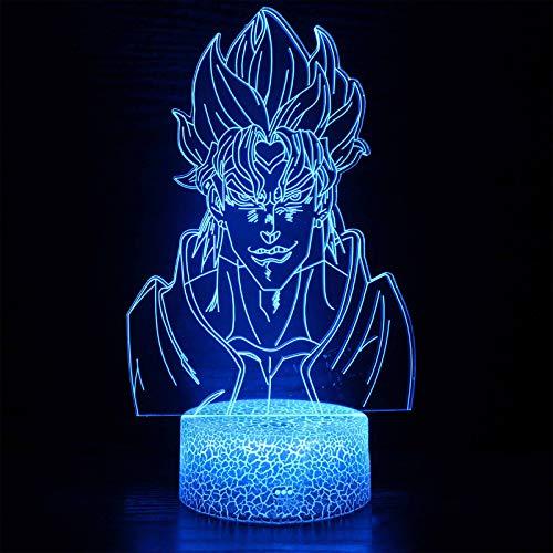 Kujo Jotaro 3D Visual Night Light JoJo s Bizarre Adventure Dio Brando Character Image Nachtlicht Kinder Geburtstag Geschenke Anime Dekoration Schwarz Crack Base mit Fernbedienung