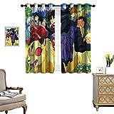 DRAGON VINES Cortinas perforadas h versailtex cortinas fondos de pantalla anime inuyasha Multifuncional Power Off Cortina Set de 2 paneles W72 x L84