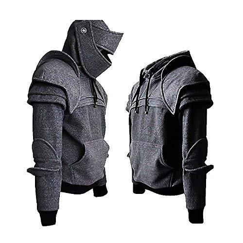Felpa con Cappuccio Arthur Knight da Uomo Armatura Medievale Felpa con Cappuccio Giacca Pullover Outwear Costume