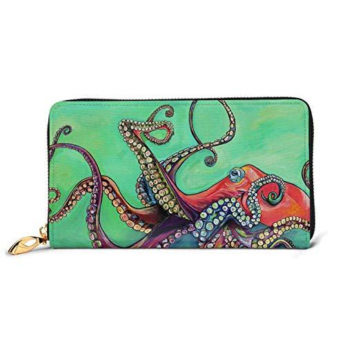 Lindo pulpo impreso cuero cartera mujeres cremallera embrague bolsa viaje tarjeta de crédito titular monedero