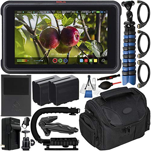 "Atomos Ninja V 5"" 4K HDMI Recording Monitor with Deluxe Accessory Bundle – Includes: 2X Extended Life NP-F975 Batteries with Charger; Micro, Mini, Standard HDMI Cables; Action Grip Stabilizer & More"