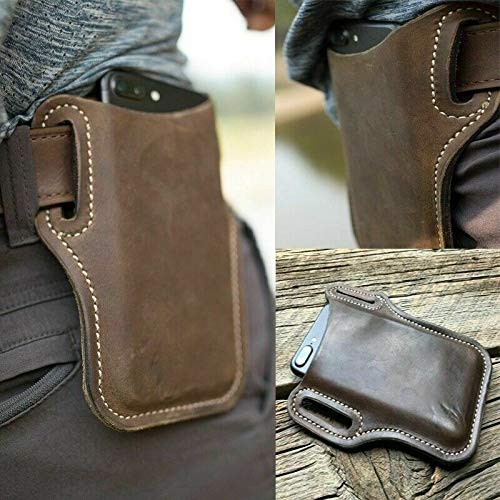 Männer Handy Gürtel Pack Tasche Schlaufe Taille Holster Beutel Fall Echtes Leder (braun)