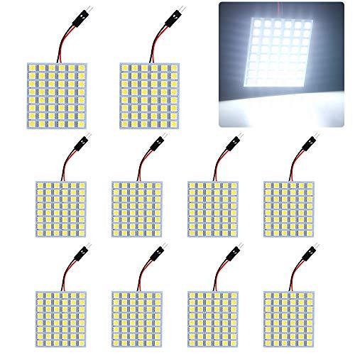 GrandView 10 stuks superheldere witte 5050 48-SMD LED-paneel verlichting spaarlamp binnenlamp leesplaat plafondlamp binnenverlichting bedraad (12V DC)