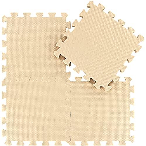 Alfombra Puzzle para Niños Bebe Infantil - Suelo de Goma EVA Suave. 25 Piezas (30 * 30 * 1cm), Beige.QQC-Jb25N
