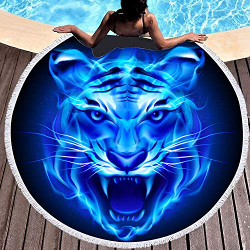 BCDJYFL 3D Impresas Toalla De Playa Tigre De Llama Azul Toalla De Microfibra para Sauna, Toalla De Playa Toalla De Baño Grande, Toalla De Viaje, Playa, Sauna.-Diámetro: 150Cm