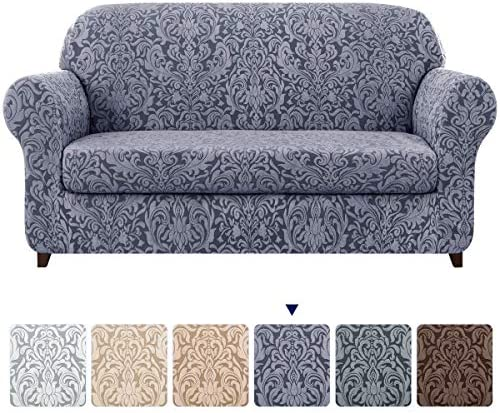Best subrtex Sofa Slipcover 2-Piece Jacquard Damask Couch Cover with Seat Cushion Stretch Furniture Prote
