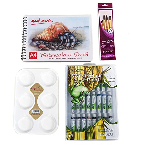 Mont Marte Watercolour Art Set Includes Watercolour Paint Set, 5pce Pony Hair Brushes, 6 Hole Palette and A4 Watercolour Pad Perfect for Adults and Students