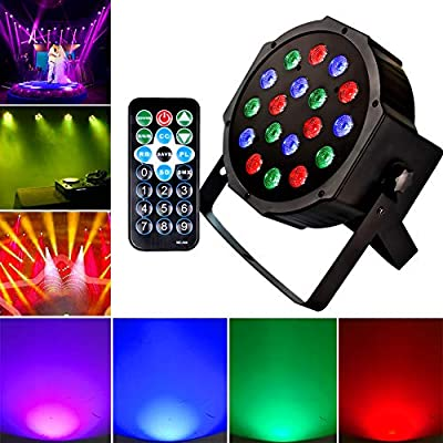 KOOT DJ Par Light 18 LEDs Stage Light with RGB - Up Lighting Disco Party Light Club Lights Controlled by Remote and DMX Control - Best for DJ Club Bar Wedding Show