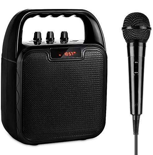 ARCHEER Portable Speaker System, Karaoke Machine bluetooth Speaker with Microphone, Voice Amplifier Handheld Mic Perfect for Kids & Adults Party, other Outdoors and Indoors Activities, Black