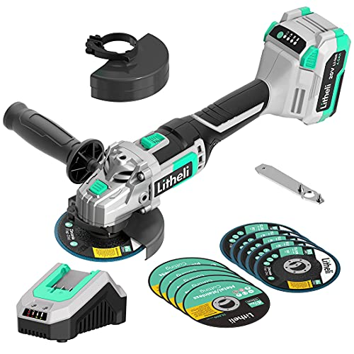 Litheli 20V Cordless Angle Grinder,4-1/2 Inch,Metal Cut Off Tool/Polish Tool With 4.0Ah Battery& Charger, Adjustable Handle Grinder for Cutting and Grinding Wood and Metal.