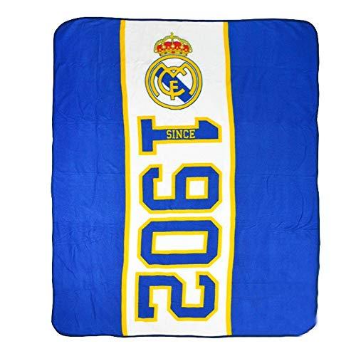 Real Madrid FC - Manta Polar diseño Established 1902 del Real Madrid CF (Tamaño Único) (Azul)