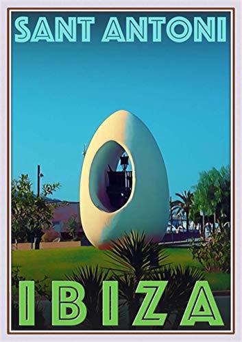 StickIt2Me Sant Antoni de Portmany Ibiza Art Deco Retro Travel Poster, A4