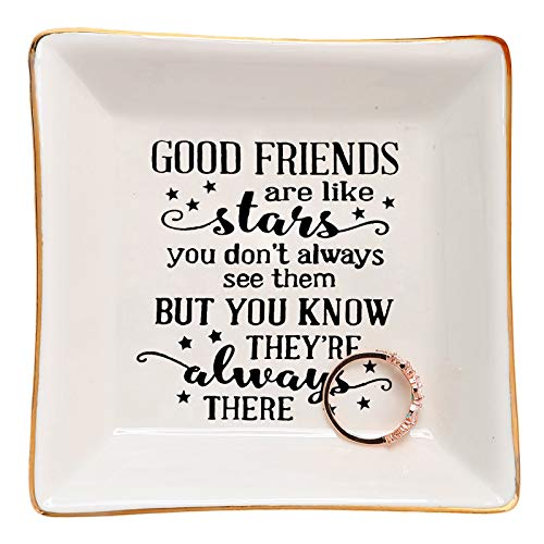 HOME SMILE Good Friends Bestie Gifts for Her Ring Trinket Dish-Good Friends are Like Stars - You Don't Always See Them But You Know They're Always There