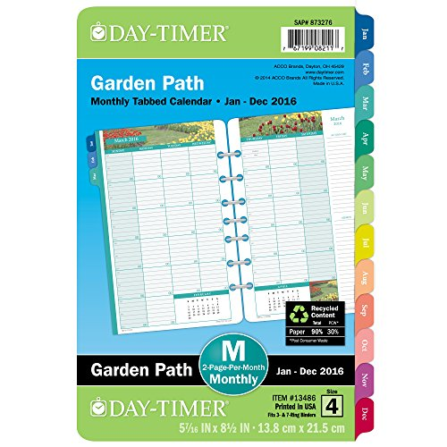 DayTimer Garden Path Desk-Size Monthly Refill 2016, 5.5 x 8.5 Inches Page Size (134861601)