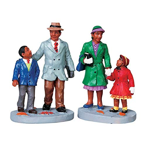 2009 Going to Church Set of 2 African American Christmas Village Figurines