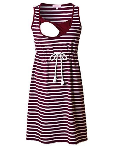 Bhome Nursing Breastfeeding Tank Dress Summer Sleeveless Striped Maternity Dress S