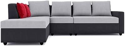 Furny Nestar Fabric LHS 6 Seater L Shape Sofa Set (Grey-Black)