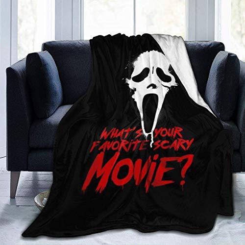 Manta de Franela Tela de Cepillo Extra Suave Súper cálida Mantas para sofás acogedora y Ligera Película de Terror Favorita de Scream