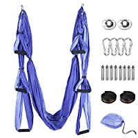Tumax Yoga Hängematte Set, Decke Hängende Yoga Schaukel mit Montagezubehör, Aerial Yoga Tuch Hängematte?für Fitness Yoga Anti-Schwerkraft-Swing, Anti - Gravity - Yoga Set Lila, Yoga-Starter Set