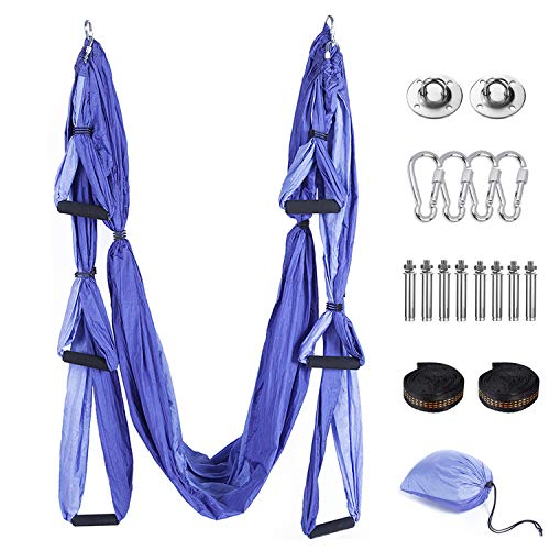 Tumax Yoga Hängematte Set, Decke Hängende Yoga Schaukel mit Montagezubehör, Aerial Yoga Tuch Hängematte,für Fitness Yoga Anti-Schwerkraft-Swing, Anti - Gravity - Yoga Set Lila, Yoga-Starter Set