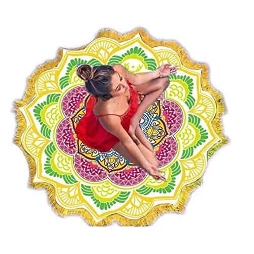 Starall Yogamatte, Bohemianischer Lotus, Yoga, Strandmatte, Decke, Wandbehang, indisches Mandala, mit Quaste, 4