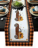 Libaoge Coffee Table Runner Happy Thanksgiving Orange Black Buffalo Plaid Burlap Table Runner for Home Dcor Crafts for Family Dinner, Parties, Thanksgiving, Christmas & Gathering 13x90inch
