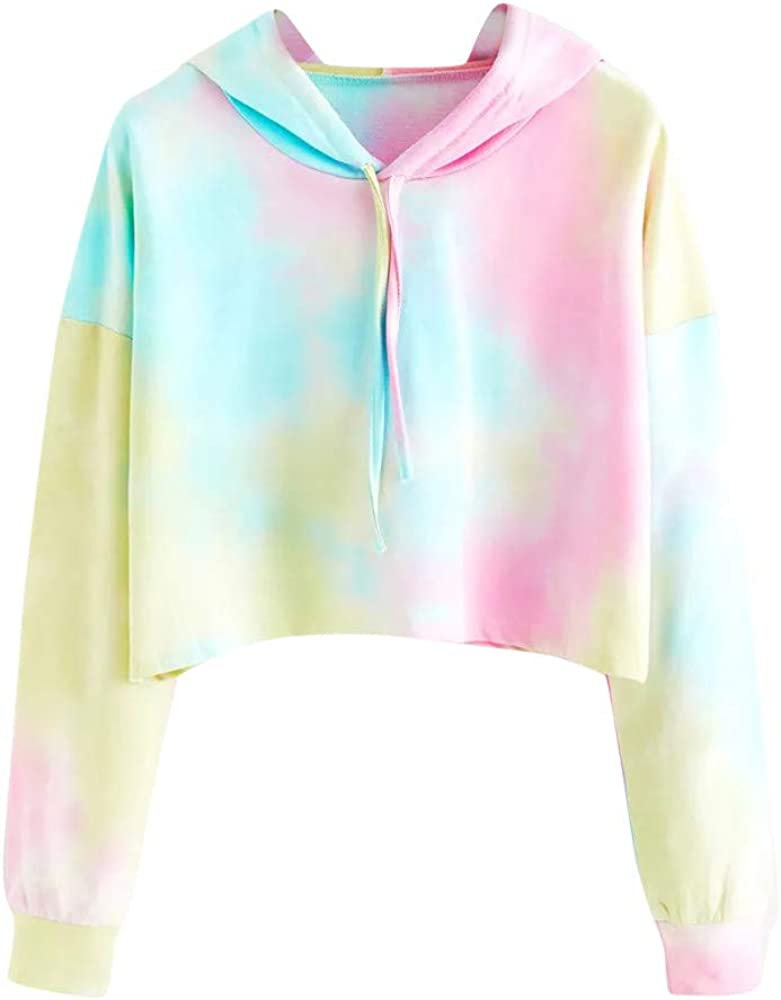 XUETON Women Casual Shirts 2021 autumn and winter new Tie OFFer dye Cozy Sleeve Pullo Long Hooded