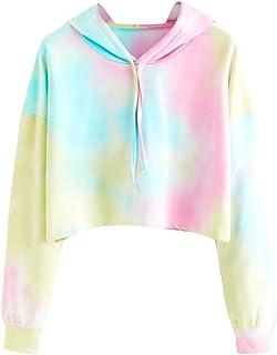 MOVERV Sudaderas con Capucha Cortas Mujer Tumblr Rainbow Estampado Camiseta de Manga Larga para Adolescentes Chicas