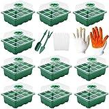 KUWAN Set di 10 mini serre, in plastica, guanti da coltivazione con attrezzi da giardino, con etichetta per piante, 12 fori