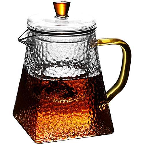 SXCDZ theepot van glas met deksel voor 600 ml thee van theebloemen, teerlosse thee en theezakjes | hoogwaardig, hittebestendig
