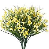 XHXSTORE 4Pcs Fiori Artificiali Gialli Bouquet di Fiori Finti per Cimitero Piante Finte Fiori di Plastica per Interno Esterno Finti Orchidea Gialli Arbusti Artificiali per Vaso Tomba Decorazione