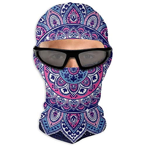 N/A Full Face Mask Indian Floral Paisley Ornament Pattern Ethnic Mandala Hood Sunscreen Mask Dual Layer Cold For Men And Women