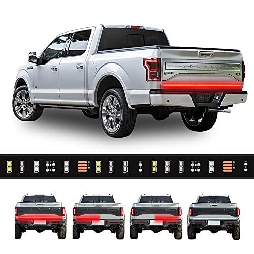 "Truck Tailgate Light Bar Double Row LED Flexible Strip 60"" Turn Signal Brake Reverse light for Pickup Trailer, Red/White (60 INCH, 2 Row)"