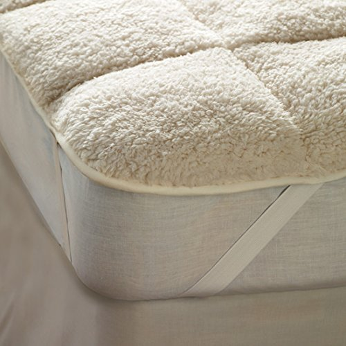 rejuvopedic Sherpa DEEP PILE Double Size, Teddy Bear Fleecy Mattress Topper Protector Under Blanket Winter Warm