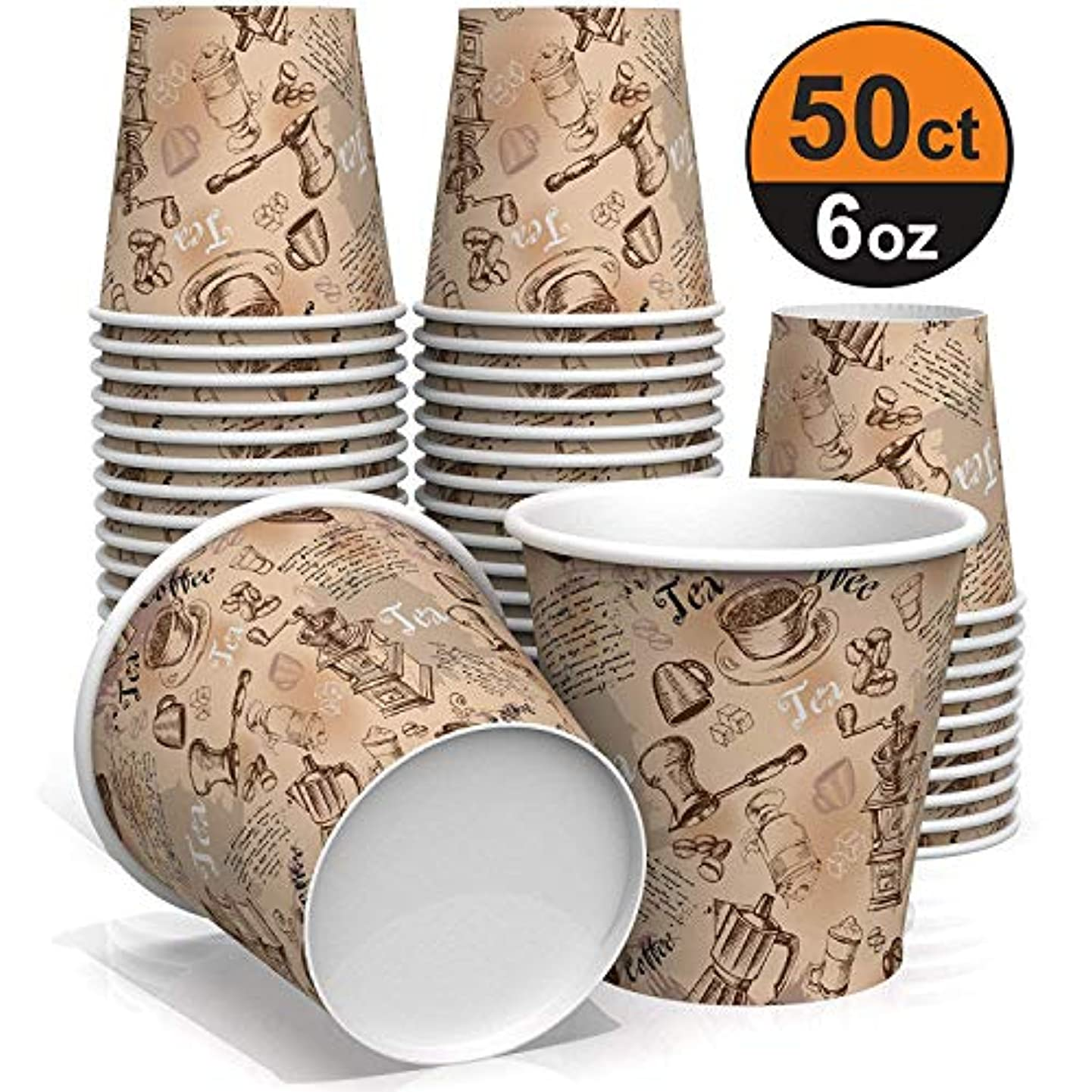 6 oz paper cups for coffee and tea - decorated paper cups