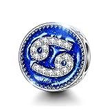 NINAQUEEN Charm für Pandora Charms Krebs Konstellationen Sternzeichen Geschenke für Frauen Silber 925 für Pandora, Chamilia & European Armbänder & Halsketten, mit Schmuckkasten