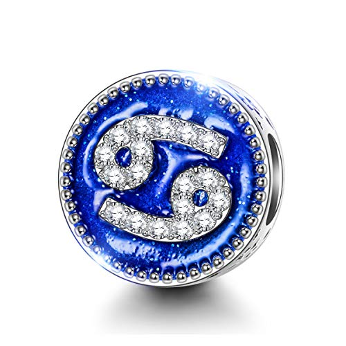 NINAQUEEN Bead Charm fit Pandora Charms 12 Constellation Cancer Zodiac Signs 925 Sterling Silver, Gifts for Her, fits European Charm Bracelets & Necklaces, with Jewellery Box (6.22-7.22)