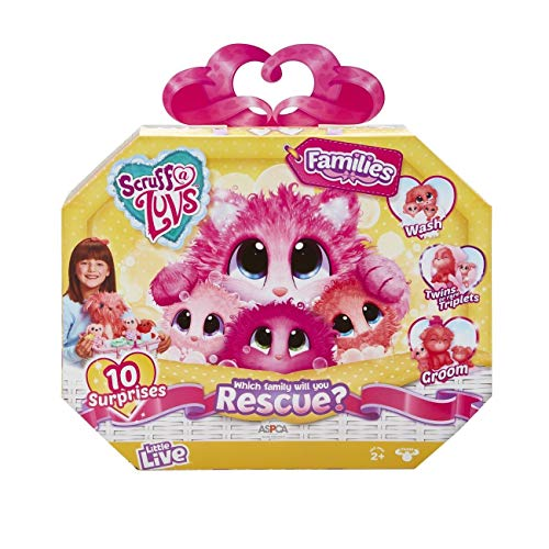 Scruff-a-Luvs rodzinne zwierzę ratunkowe, miękka zabawka, kot, pies, liliowy lub koralowy, bliźnięta lub drylingi, wielokolorowa