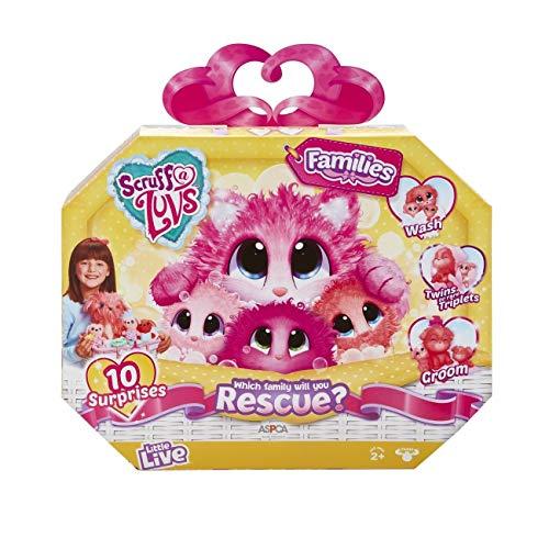 Scruff-a-Luvs Families Rettungstier, weiches Spielzeug, Katze oder Hund, Lila oder Koralle, Zwillinge oder Drillinge, Mehrfarbig