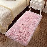 YJ.GWL Super Soft Faux Sheepskin Fur Area Rugs for Bedroom Floor Shaggy Plush Carpet Faux Fur Rug Bedside Rugs, 2 x 4 Feet Pink