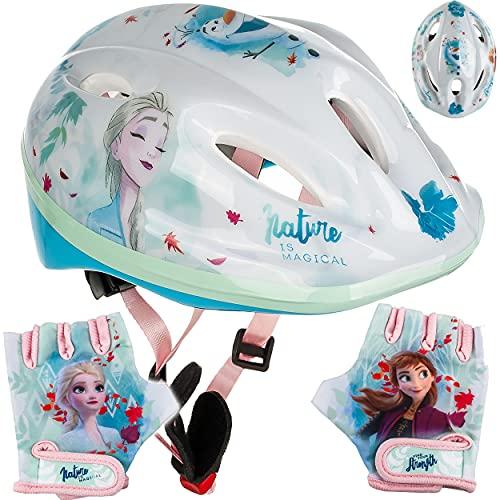 alles-meine.de GmbH Set: Kinderhelm / Fahrradhelm + Fahrradhandschuhe ___ Disney die Eiskönigin - Frozen - Gr. 52 - 56 - Circa 3 bis 15 Jahre - Größen verstellbar / mitwachsend -..