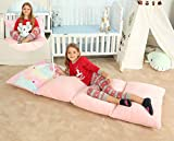 Anzitinlan Girl's Pink Floor Lounger, Recliner, Kids Floor Pillows Bed Seat Cover, Fold Out Sofa Bed, Baby Fleece Fabric Super Soft for Sleepovers, 78 X 27 Inches Cover ONLY